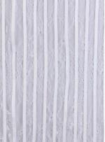 İnce Fransız Danteli Üzeri Deri İşlemeli Kumaş - Kemik - K9683