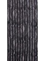 İnce Fransız Danteli Üzeri Deri İşlemeli Kumaş - Siyah - K9683