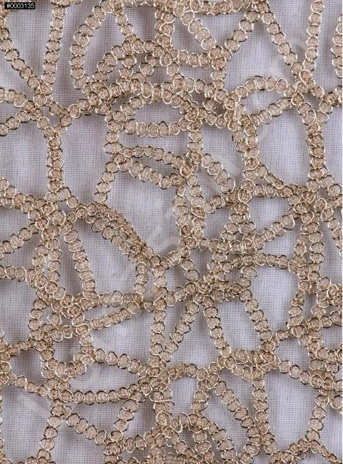 File Üzeri Simli Kordone İşlemeli Gold Kumaş - K9684