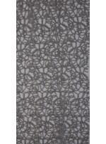 File Üzeri Simli Kordone İşlemeli Gümüş Kumaş - K9684