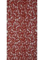 File Üzeri Simli Kordone İşlemeli Kırmızı Kumaş - K9684