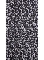 File Üzeri Simli Kordone İşlemeli Siyah Kumaş - K9684