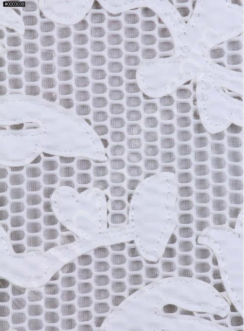 File Üzeri Beyaz Deri Kumaş - K9685