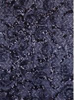 Triko Üzeri Desenli Lacivert Payetli Abiyelik Kumaş - K9686