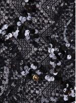 Triko Üzeri Desenli Siyah Payetli Abiyelik Kumaş - K9686