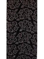 Siyah Kadife Üzeri Siyah Deri Kumaş - K9689