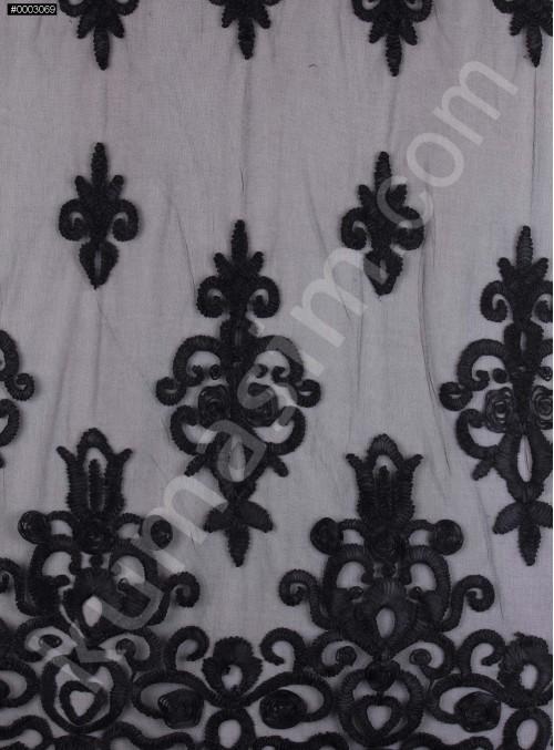 Etnik Desenli 3 Boyutlu Siyah Lase Kumaş - K9691