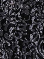 Siyah Kadife Üzeri Antrasit Payetli Abiyelik Kumaş - K9692