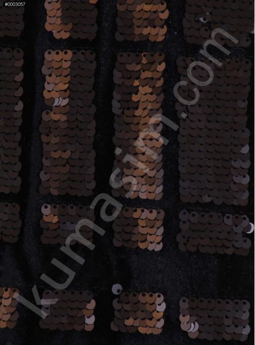 Siyah Kadife Üzeri Mat Payetli Abiyelik Kumaş - K9693
