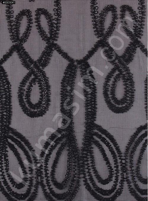 File Üzeri Kordone İşlemeli Siyah Kumaş - K9694
