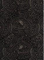 Siyah Kadife Üzeri Gold İşlemeli Elbiselik Kumaş - K9695