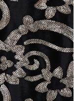 Siyah Kadife Üzeri Desenli Gold Payetli Abiyelik Kumaş - K9697