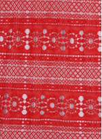 Etnik Desenli Kırmızı Abiyelik Güpür - K9701