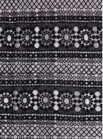 Etnik Desenli Siyah Abiyelik Güpür - K9701