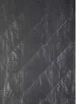 Kare Zigzag Desenli Suni Deri Siyah Kumaş - K9711