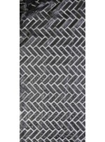 Dikdörtgen Zigzag Desenli Suni Deri Siyah Kumaş - K9719