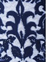 Etnik Desenli Nakışlı Lacivert Elbiselik Payetli Kumaş - K9722