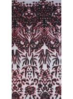 Kupon Desenli Siyah - Kırmızı Payetli Kumaş - K9754