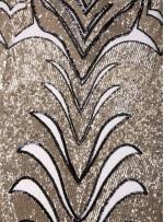Büyük Etnik Desenli Payetli Gold-Siyah Abiyelik Kumaş - K9756