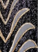 Büyük Etnik Desenli Payetli Siyah-Gold Abiyelik Kumaş - K9756