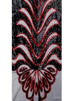 Büyük Etnik Desenli Payetli Siyah-Kırmızı Abiyelik Kumaş - K9756