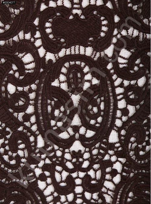 Elbiselik Desenli Kahverengi Güpür Kumaş - K9768