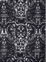Elbiselik Desenli Lacivert Güpür Kumaş - K9768
