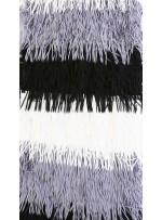 Gri - Siyah - Beyaz Lazer Kesim Saçaklı Kumaş - K9772