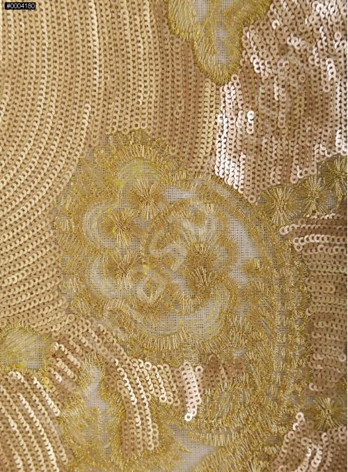 Çiçek Desenli Payetli ve Nakışlı Gold Kumaş - K9777