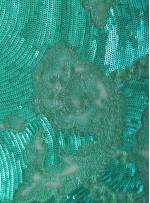 Çiçek Desenli Payetli ve Nakışlı Mint Kumaş - K9777