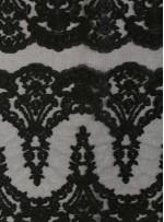 Kalın Kordoneli Yaprak Desenli Siyah Kumaş - K9801