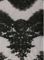 Kalın Kordoneli Yaprak Desenli Siyah Kumaş - K9802