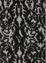 Etnik Desenli Nakışlı Siyah Elbiselik Kumaş - K9854
