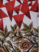 Çiçek ve Üçgen Desenli Nakışlı Abiyelik Kırmızı Kumaş - K9856