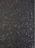 Abiye Elbiselik Tül Üzeri Desenli Siyah Deri Payetli Kumaş - K9863