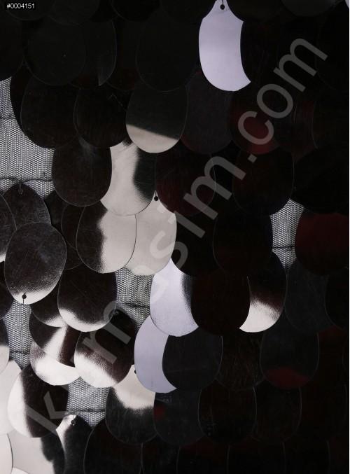 Büyük Armut Payetli Parlak Siyah Kumaş - K9869