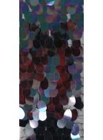 Büyük Armut Payetli Siyah - Hologram Kumaş - K9869