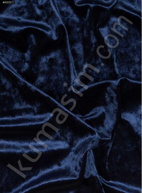 Elbiselik Desensiz - Düz Kışlık Lacivert Cam Kırığı Kadife Kumaş - K9885