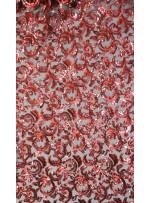 3mm Payetli Çiçek Desenli Kırmızı Kumaş - K9888