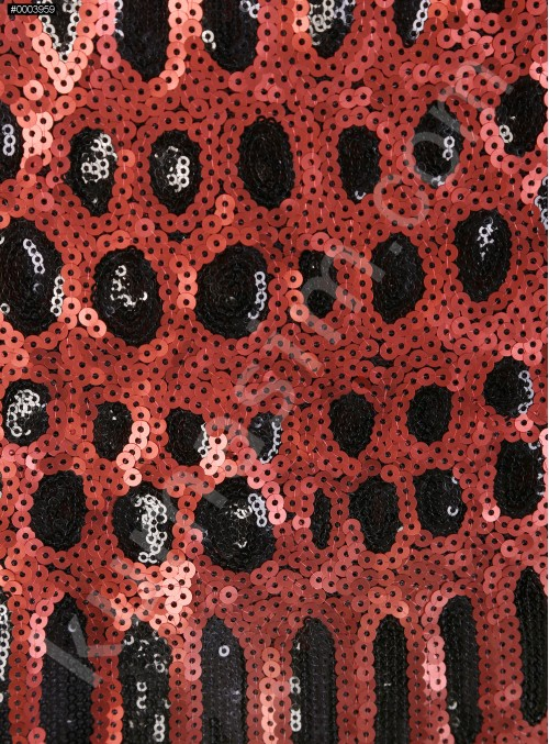 Desenli Bordo - Siyah Payetli Kumaş - K9894