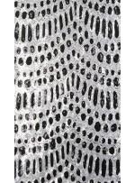 Desenli Gümüş - Siyah Payetli Kumaş - K9894