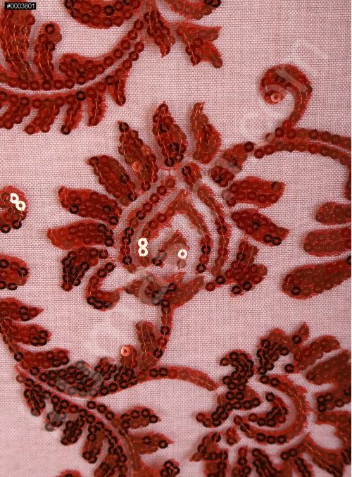 Abiye Elbiselik Tül Üzeri Kırmızı Payetli Kumaş - K9900