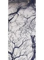 Abiye Elbiselik Ağaç Desenli Lacivert Nakışlı Kumaş - K9918