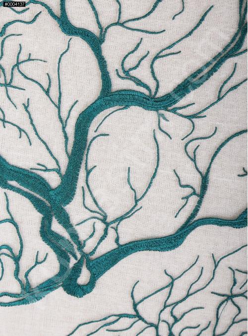 Abiye Elbiselik Ağaç Desenli Petrol Nakışlı Kumaş - K9918