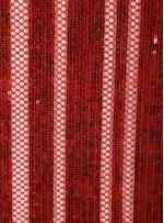 File Üzeri Şerit Desenli Kırmızı Payetli Kumaş - K9948