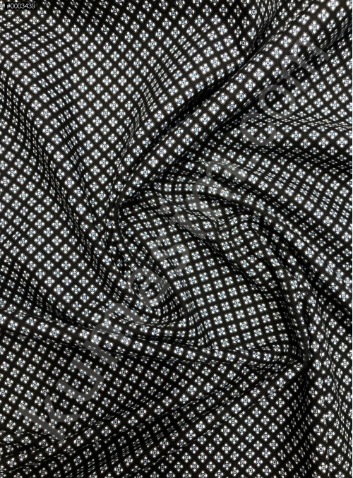 Desenli %100 Organik Pamuklu Siyah Poplin Kumaş - K9984