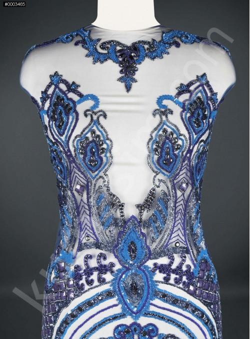 Etnik Desenli Taşlı - Payetli - Boncuklu Mavi Elbiselik Kupon Kumaş - A30621