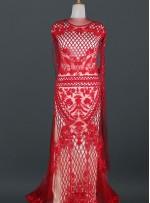 Etnik Desenli Payetli - Boncuklu - Taşlı Kırmızı Abiye Elbiselik Kupon Kumaş - A30916