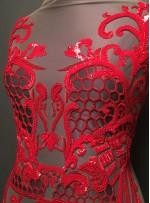 Etnik Desenli Payetli - Boncuklu Kırmızı Abiye Elbiselik Kupon Kumaş - A30917
