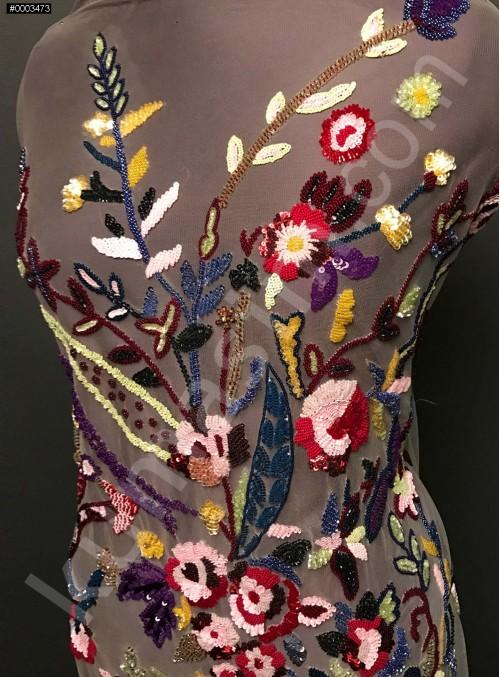 Çiçek Desenli Payetli - Boncuklu Rengarenk Abiye Elbiselik Kupon Kumaş - A30930